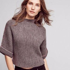 MINT GREEN Anthropologie Mock Neck Cropped Sweater